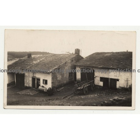 4987 Meuville / Belgium: Farmhouse - Barn - Oxcart (Vintage Photo B/W 1933)
