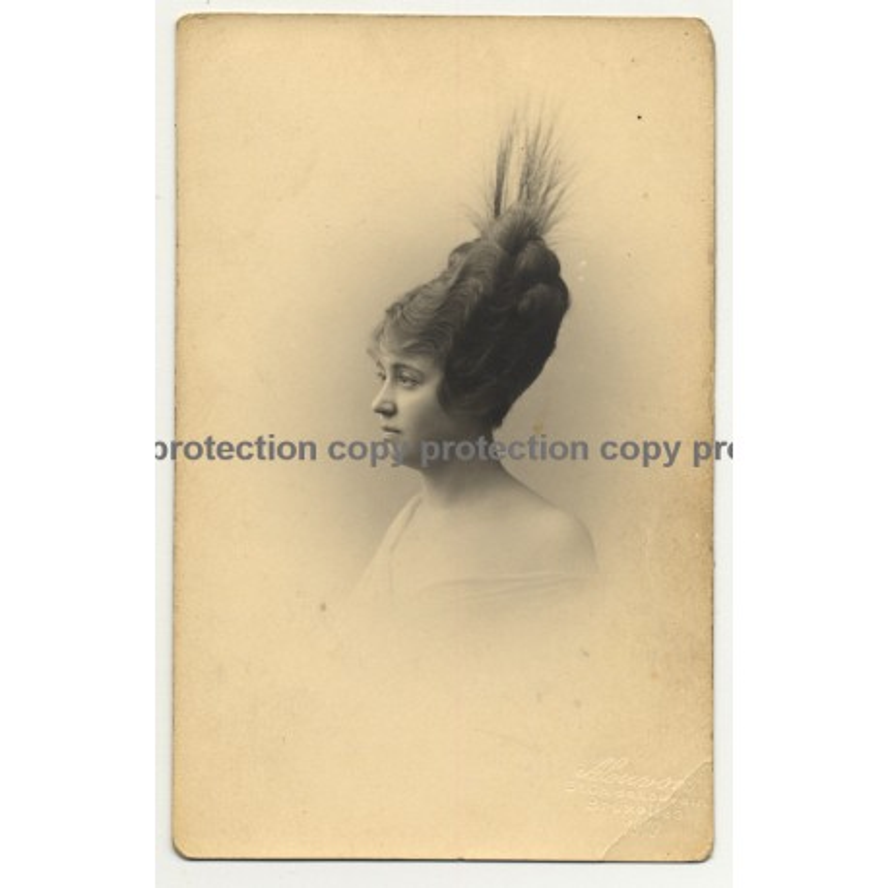Woman W. Amazing Upstyle Hairstyle / Fashion (Vintage Postcard A. Louvois 1919)