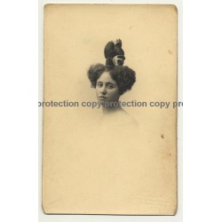 Woman W. Crazy Upstyle Hairstyle / Fashion (Vintage Postcard A. Louvois 1919)