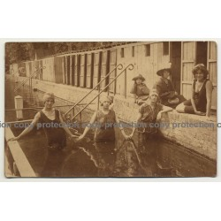 Bunch Of Stylish Women Undergo A Kneipp Cure / Swim Fashion (Vintage RPPC ~1920s)