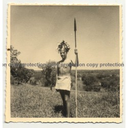 White Colonial Master Pretends To Be A Tribe Chief / Congo? (Vintage Photo B/W 1930s/1940s)