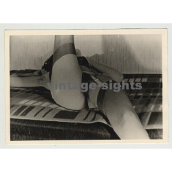 Nude Study Of Woman Lying On Her Back / Suspenders & Tights (Vintage Photo 1960s)