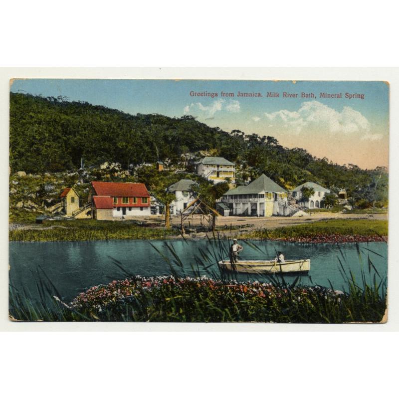 Greetings From Jamaica / Milk River Bath, Mineral Spring (Vintage Postcard 1927)