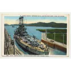 U.S.S. North Dakota Enering Miraflores Lake, Panama Canal (Vintage Colored Postcard)