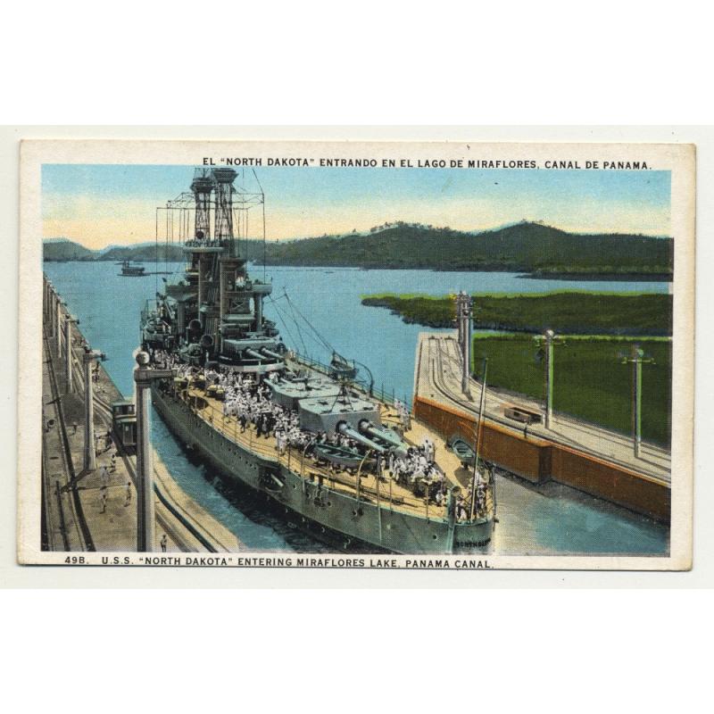 U.S.S. North Dakota Enering Miraflores Lake, Panama Canal (Vintage Colored Postcard)