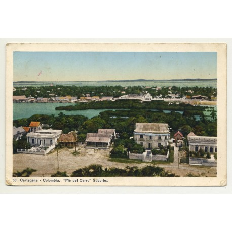 Cartagena / Colombia: Pié del Cerro - Suburbs (Vintage Colored Postcard 1929)
