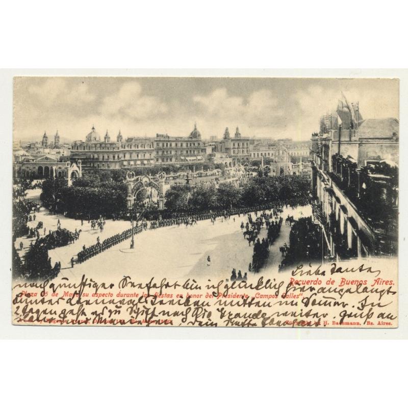 Recuerdo De Buenos Aires / Plaza 25 De Mayo (Vintage Colored Postcard 1902)
