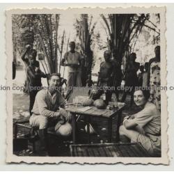 Rencontre Dans La Brousse - Meeting In Th Bush 4 / Congo (Vintage Photo B/W 1936)