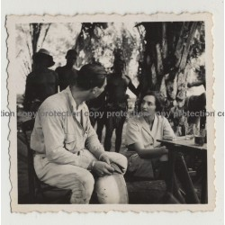 Rencontre Dans La Brousse - Meeting In Th Bush 5 / Congo (Vintage Photo B/W 1936)