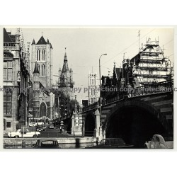 9000 Gent / Belgium: St. Michael's Bridge / Sint-Michielshelling (Vintage Photo B/W 1970s)