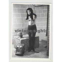 Dark Haired Woman In Plastic Wrap Bondage & Footcuffs (Vintage Photo 1964)