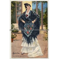 Sevilla: Una Manola, Tipo Sevillano (Vintage RPPC Purger & Co. 1903)
