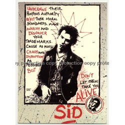 Sid Vicious - Don't Let Them Take You Alive (Vintage Official Postcard Athena UK 1980s)