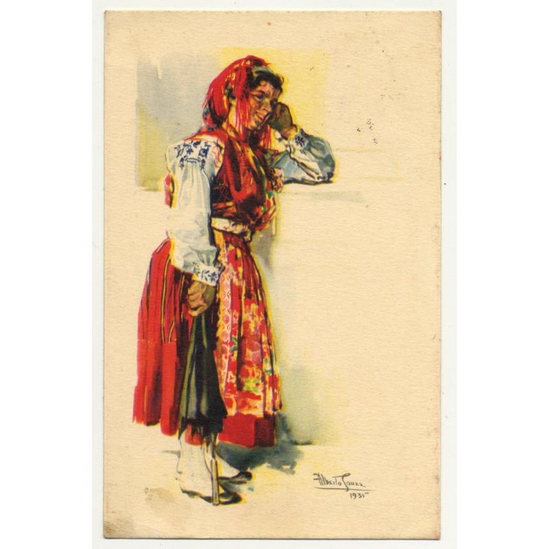 Portugese Woman In National Dress: Viana Do Castelo (Artist Postcard: Alberto Souza 1947)