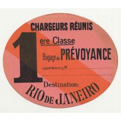 Chargeurs Réunis: Bagage De Prévoyance / Rio de Janeiro (Vintage Shipping Line Luggae Label)