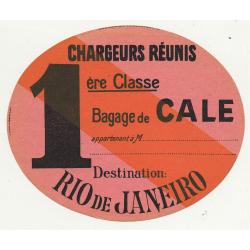Chargeurs Réunis: Bagage De Cale / Rio de Janeiro (Vintage Shipping Line Luggae Label)