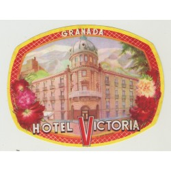 Hotel Victoria - Granada / Spain (Vintage Luggage Label)