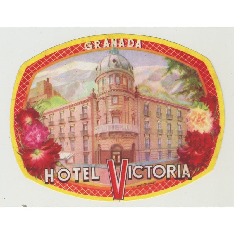 Hotel Victoria - Granada / Spain (Vintage Luggage Label)