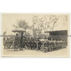 Colonial Master Conducts Native Force Publique Orchestra / Congo (Vintage RPPC B/W ~1930s)