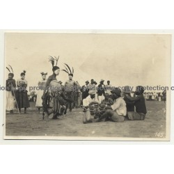Native Tribe Members In Ceremonial Outifts - Face Painting / Congo (Vintage RPPC B/W ~1930s)