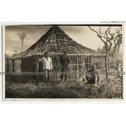 3 Native Congolese Guys In Front Wooden Cottage / Africa (Vintage Photo B/W ~1930s)
