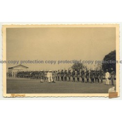 Force Publique Troops Salut Colonial Masters / Congo (Vintage RPPC B/W ~1940s)