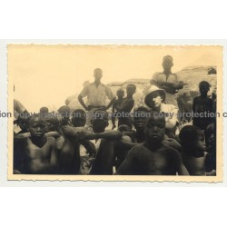 Kolonialherr Surrounded By Congolese Kids (Vintage RPPC B/W Gevaert ~1940s)