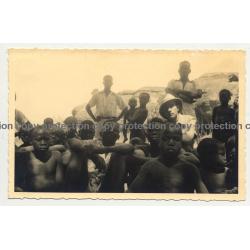Kolonialherr Surrounded By Congolese Kids (Vintage RPPC B/W Gevaert ~1940s)