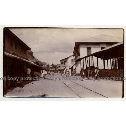 Zanzibar / Tanzania: Street Scene / Rails - Wagon (Vintage Photo B/W ~1920s/1930s)
