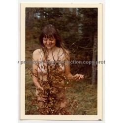 Natural Busty Nude Woman In Forest *7 (Vintage Photo Germany 1973)