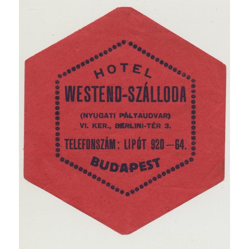 Hotel Wesend-Szálloda - Budapest / Hungary (Vintage Luggae Label)