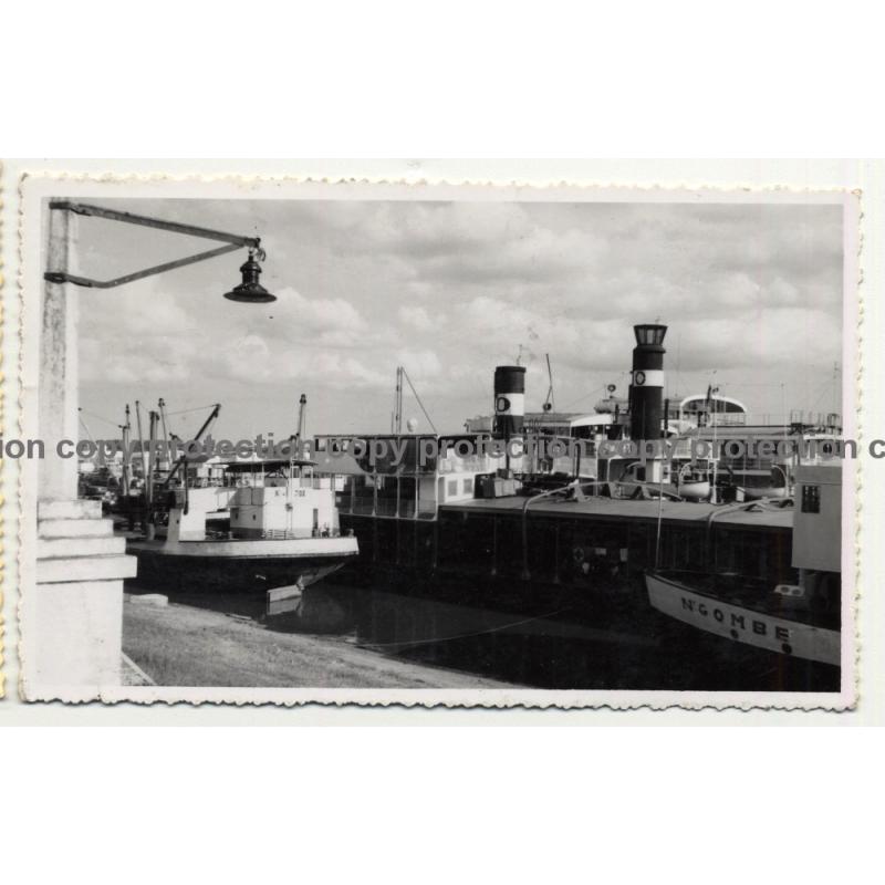Port Facilities Of Stanleyville & Steamers / Congo - Africa (Vintage RPPC B/W 1955)