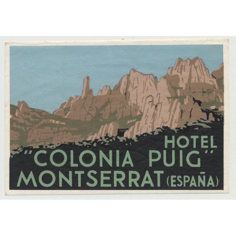 Hotel Colonia Puig - Montserrat / Spain (Vintage Luggage Label)