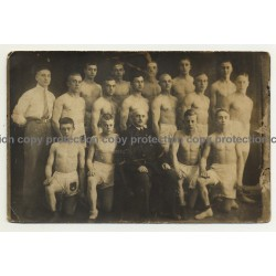 Group Of Young Muscular German Boxers & Trainer (Vintage RPPC ~1930/1940s)