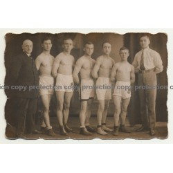 Group Of Young Muscular German Boxers & Trainer *2 (Vintage RPPC ~1930/1940s)