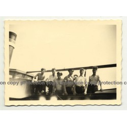 Group Of German Boatmen On Deck Of Barge (Vintage Photo B/W ~1950)