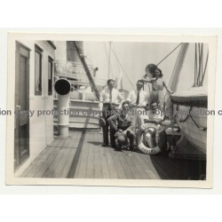 Belgian Colonialists On Deck Of Steamer Elisabethville / Congo  (Vintage Photo B/W ~1940s/1950s)