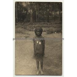 Mbanza / Matadi 5.3.1925: Freshly Baptized Congolese Girl (Vintage RPPC)