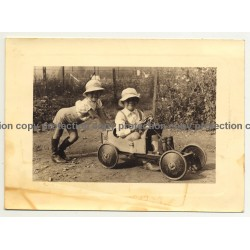 2 Proud Kids & Their Soapbox (Vintage Photo B/W ~1930s)
