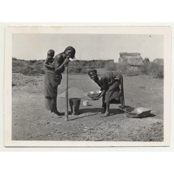 Lehnert & Landrock: Native Women Preparing Food (Vintage RPPC ~1920s/1930s)