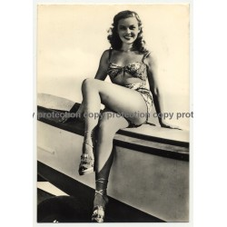 Pretty Pin Up Girl In Bikini / Smile - Legs (Vintage RPPC ~1960s)