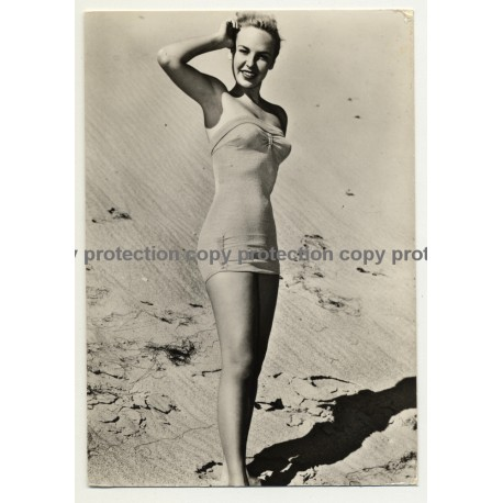 Blonde Pin Up Girl In One Pieces Swimsuit / Dunes (Vintage RPPC ~1960s)