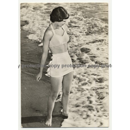 Brunette Pin Up Girl In The Surf / Two Piece Swimsuit (Vintage RPPC ~1960s)