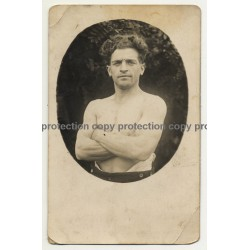 Portrait Of Handsome Muscular Guy / Gay INT (Vintage RPPC ~1910s/1920s)