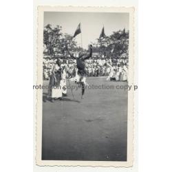 Native Warrior Dances At Tribal Meeting / Congo (Vintage Photo B/W ~1940s)