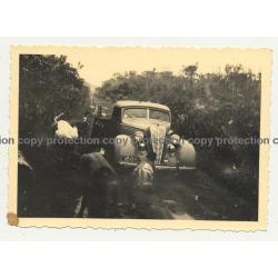 Hudson Terraplane Cabrio Stuck In Mud / Congo (Vintage Photo B/W ~1940s)