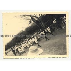 Parade Of Native School Kids / Congo (Vintage Photo B/W ~1940s)