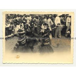 Medicine Men In Tribal Costume / Rite - Congo (Vintage Photo B/W ~1940s)
