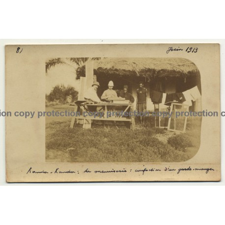 Belgian Congo 1913: Carpentry - Making A Pantry (Vintage RPPC 1913)