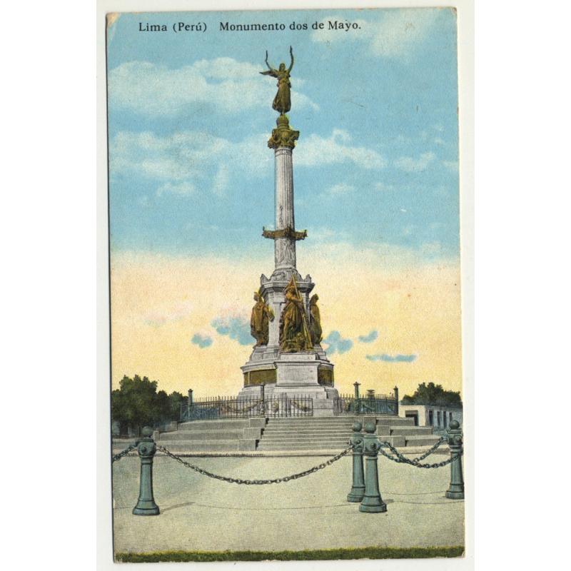 Lima / Peru: Monumento Dos De Mayo (Vintage Postcard 1922)